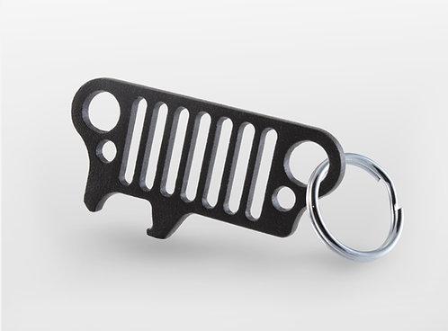 Jeep Grill Keychain Bottle Opener JKU Wrangler TJ CJ Xj Yj - (Black)