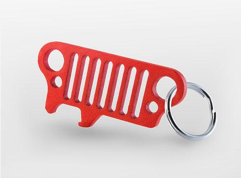 Jeep Grill Keychain Bottle Opener JKU Wrangler TJ CJ Xj Yj - (Red)
