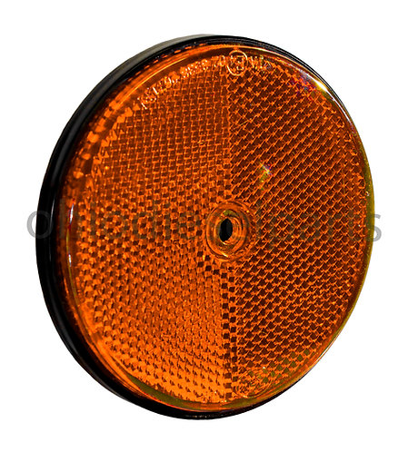 3-1/2 Inch Tractor Trailer Round Amber Reflector Stud-Mounted S.8896 1-Pack
