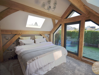 Oak framed cottage extension, Chew Valley, Somerset.