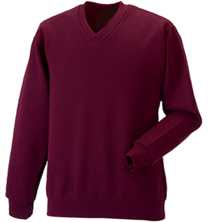 YEAR 6 ONLY Sacred Heart Maroon V neck Sweatshirt with Logo