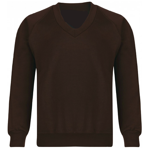 St Francis Brown V Neck Sweatshirt with Logo