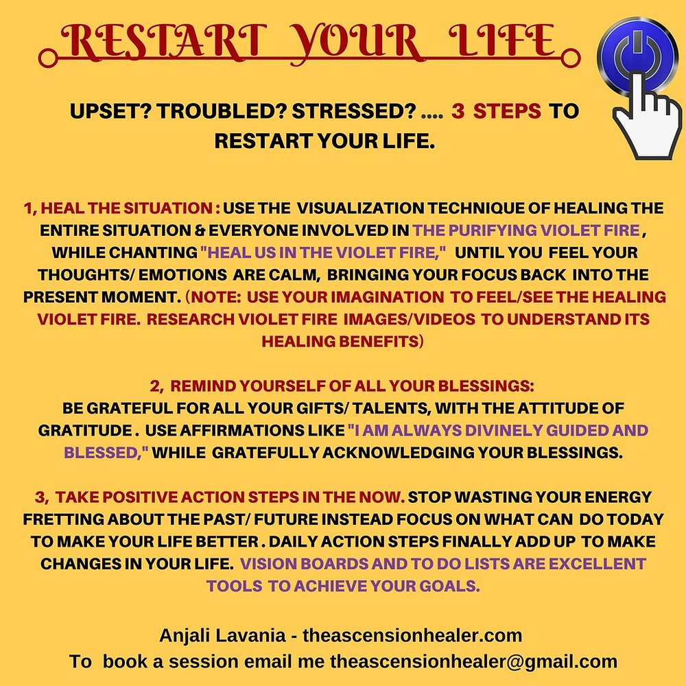 Hit that restart button ! Today is the day to make a change ....take that step today ! Don't leave it for tomorrow! Your dreams await you but unless you take a step each day - it will only remain a dream . Love light and blessings Anjali  Theascensionhealer.com To book a session email me - theascensionhealer@gmail.com