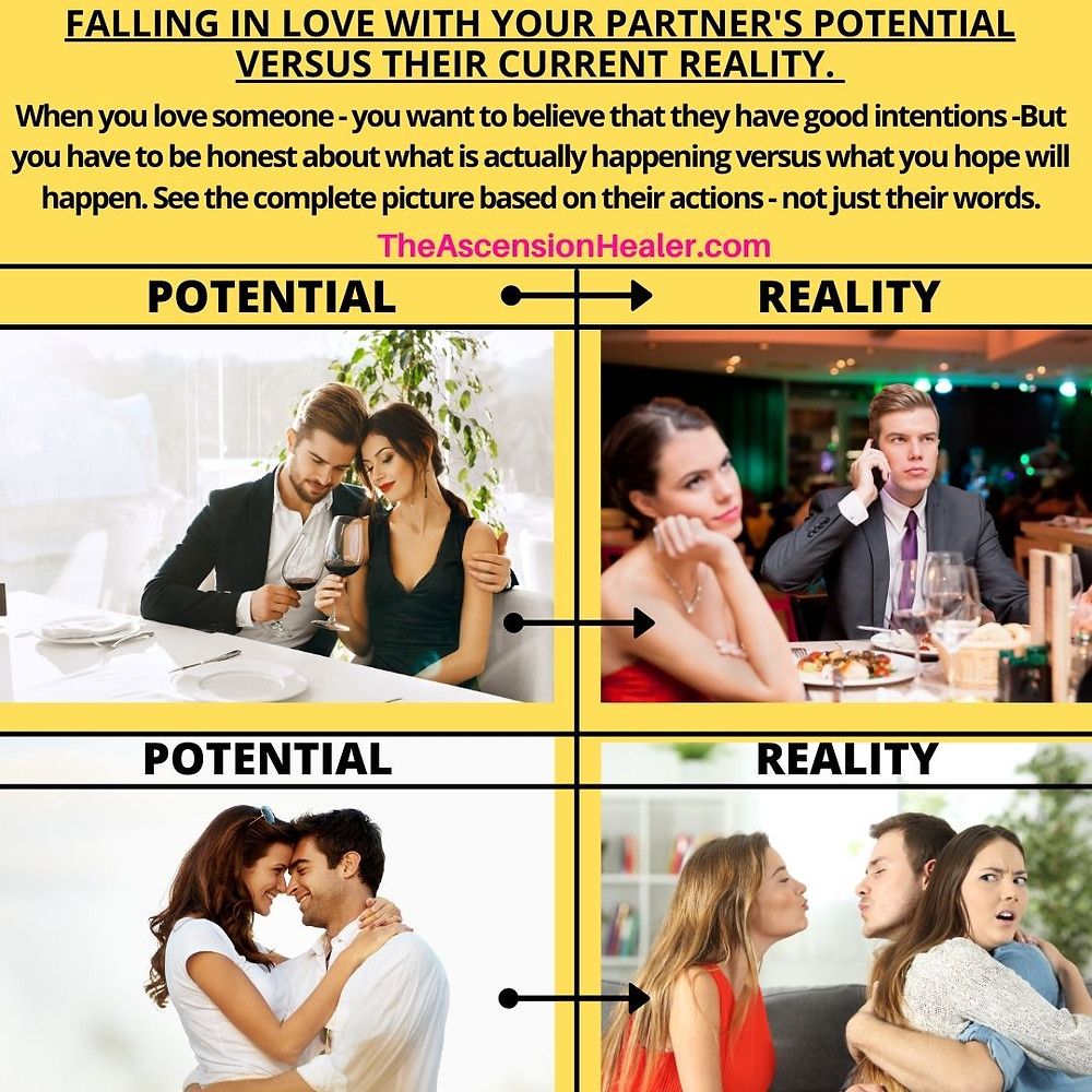 Falling in love with your partner's potential versus their current reality.
