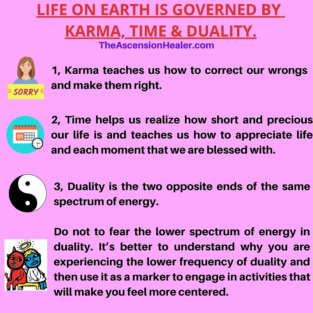 life on earth is governed by karma time and duality