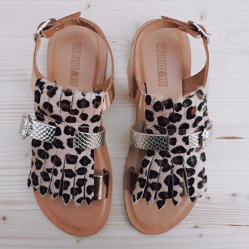 Sandalo Frangia Leopardo Rosa