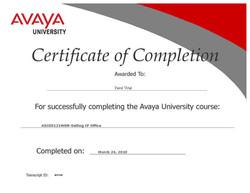 AVAYA certifikát