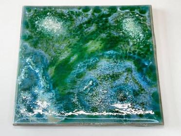 アートタイルの釉薬焼成試験