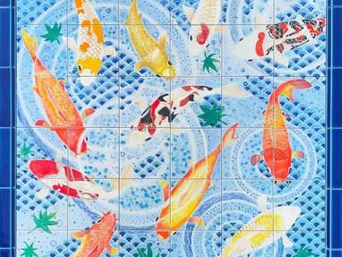 錦鯉の絵タイル