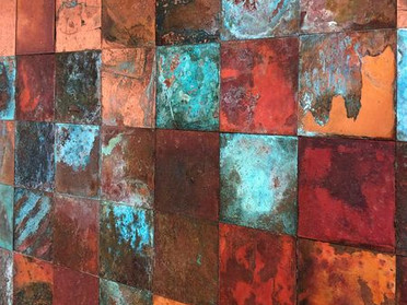 腐食銅板モザイク
