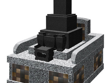 建築部材を駆使して墓石を装飾!