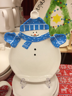 Paint your own snowman plate