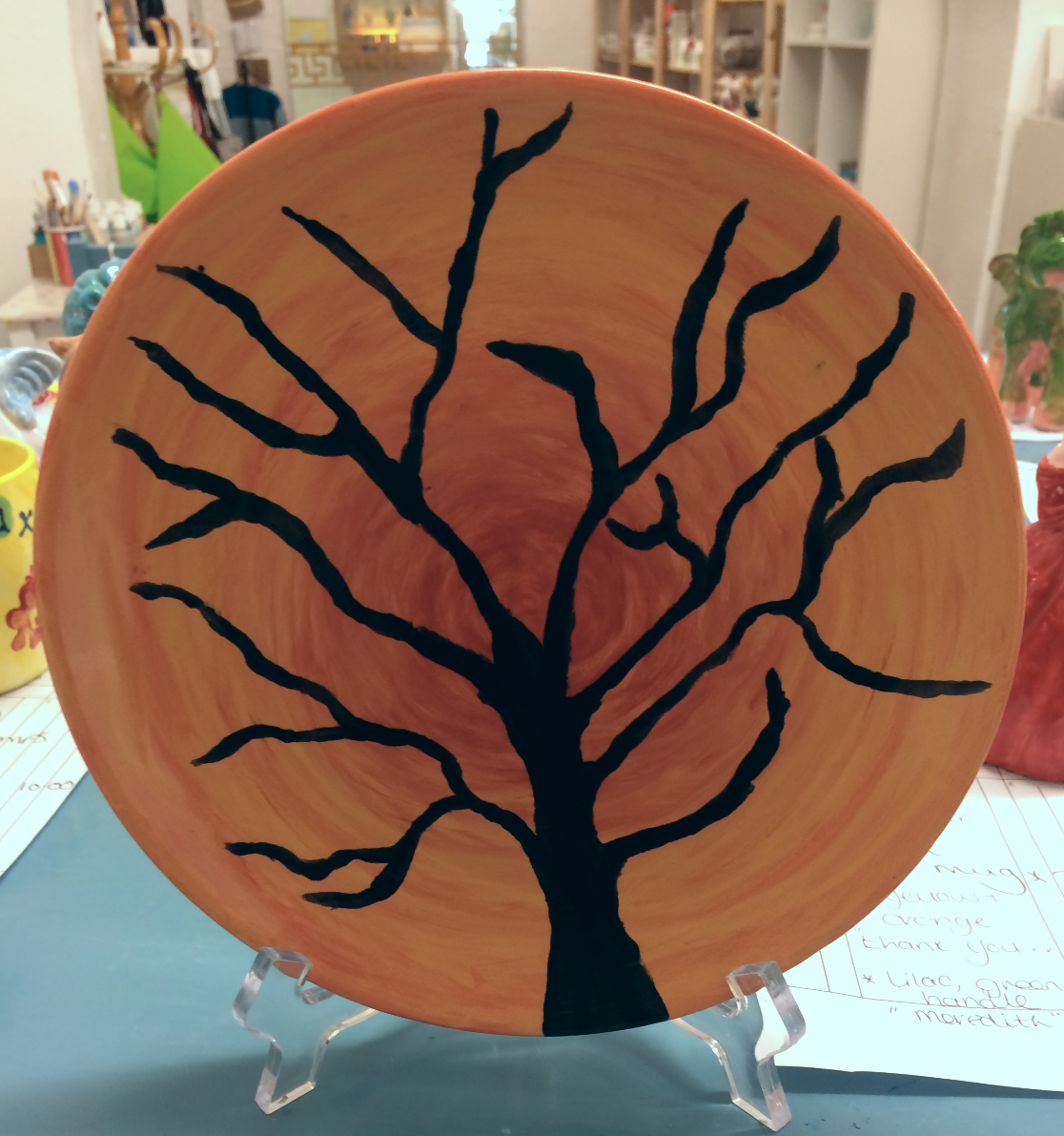 Hand painted ombre plate
