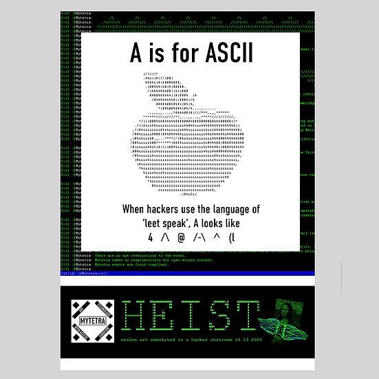 HEIST Exhibition 'A is for ASCII' Sticker Postcard