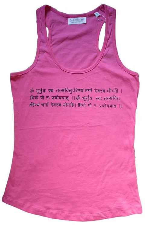 """Mantra Vest """"Gayatri Mantra"""" in Camelia Pink"""