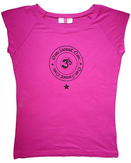 """Om Sweet Om"" Raspberry Pink T-Shirt"