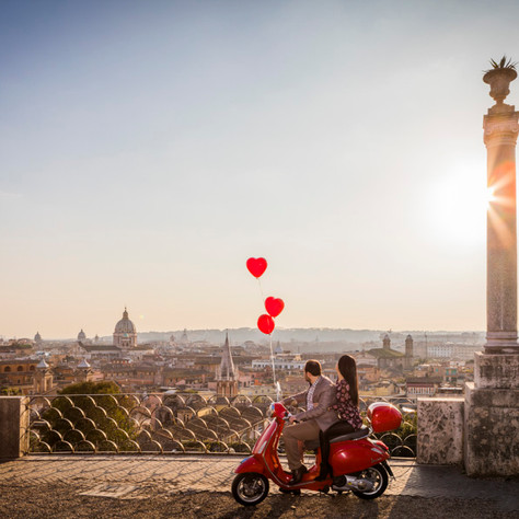 Valentine's Day - Falling in love on a red Vespa!