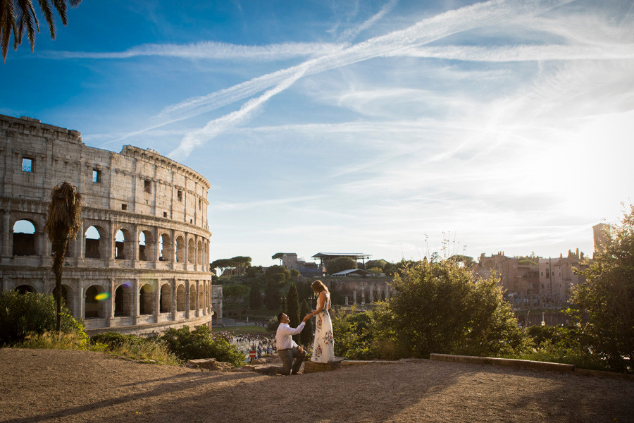 colosseum surprise proposal photography