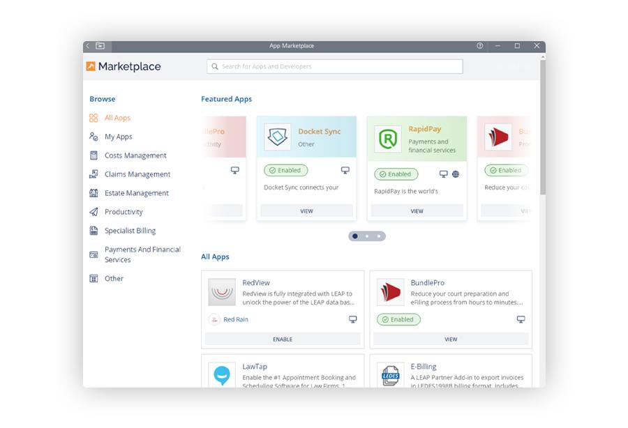 legal software integrations - LEAP Marketplace