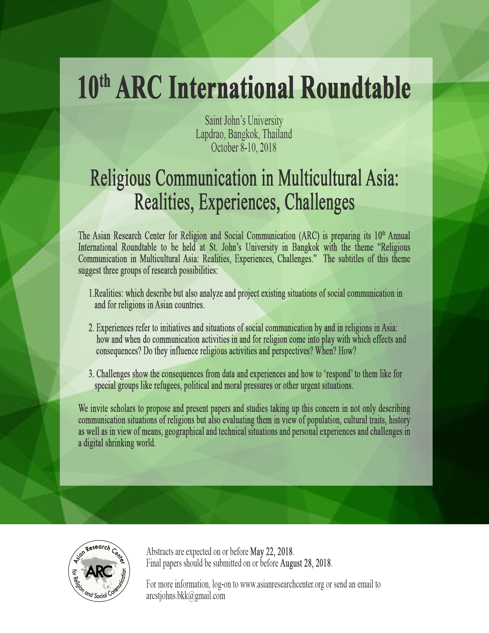 10th ARC International Roundtable | Home | Asian Research Center for  Religion and Social Communication