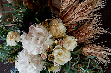 Bouquet of pampas and hydrangea , close.