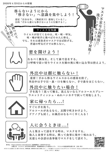 感染対策チラシ多言語 -日本語- | Covid-19 Infection Control - Japanese -