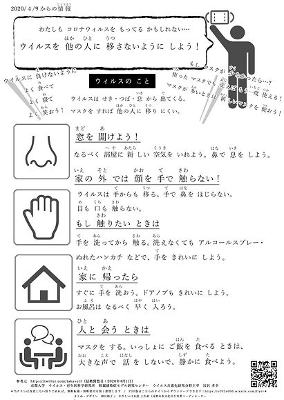 感染対策チラシ多言語 -やさしい日本語- | Covid-19 Infection Control - Plain Japanese -