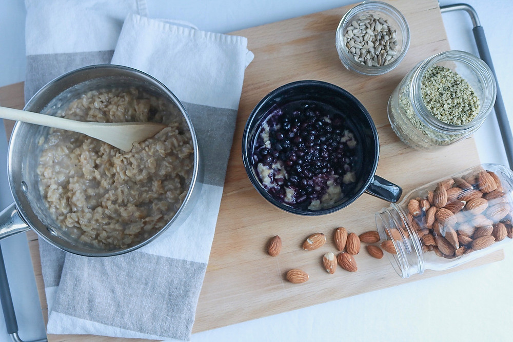 Healthy breakfast - Oats and top it off with your favourite fruits, nuts or seeds