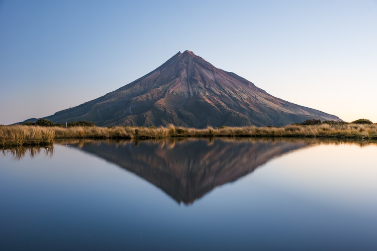 Mt. Taranaki reflection. Pouaki tarns. New Zealand. Colm Keating Photography.
