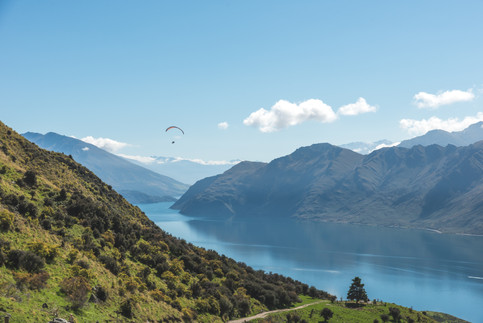 Paraglider over Lake Wanaka. New Zealand. Colm Keating Photography.