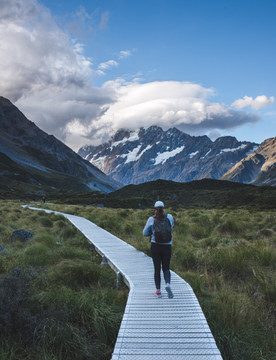 Hiking the Hooker Valley track with Mt. Cook in the background. New Zealand. Colm Keating