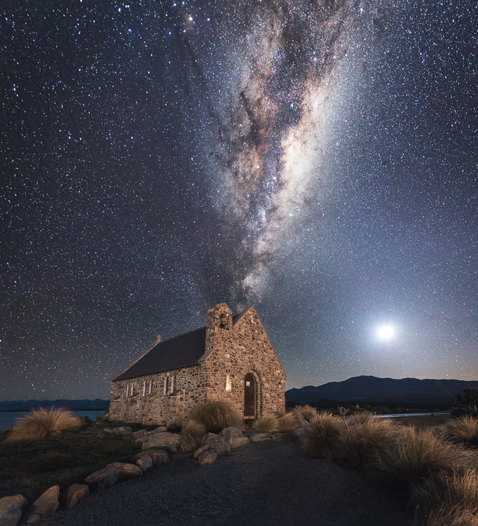 Milky Way. Church of the Good Sheppard. Lake Tekapo. New Zealand. Colm Keating Photography.
