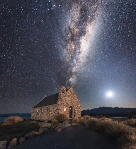 Milky Way. Church of the Good Sheppard. Lake Tekapo. New Zealand. Colm Keating Photography.