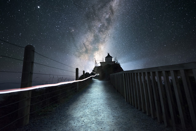 Milky Way astrophotography. Nugget Point Lighthouse. New Zealand. Colm Keating Photography.