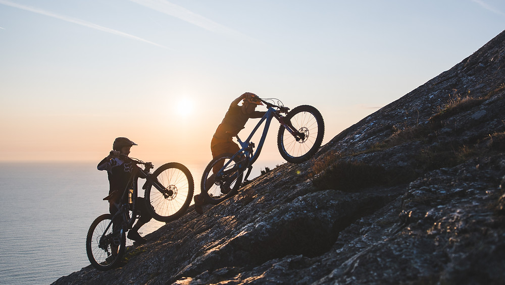mountain bikers push up cliff, colm keating, bray head,