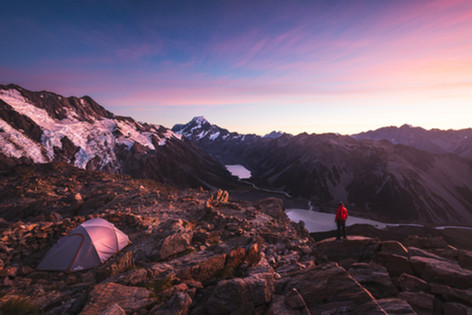 Mueller Hut campsite. New Zealand. Mount Cook in the background. Colm Keating