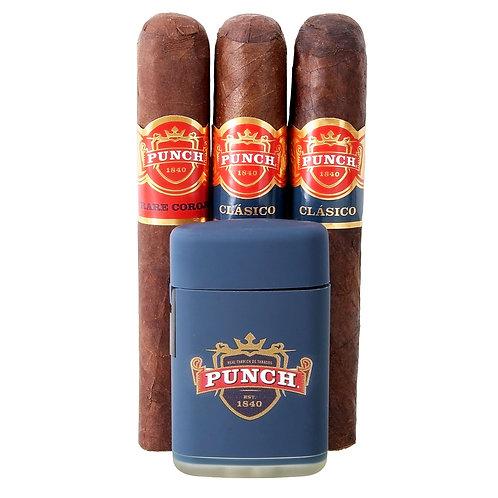 Punch 3 Cigar Sampler with torch lighter