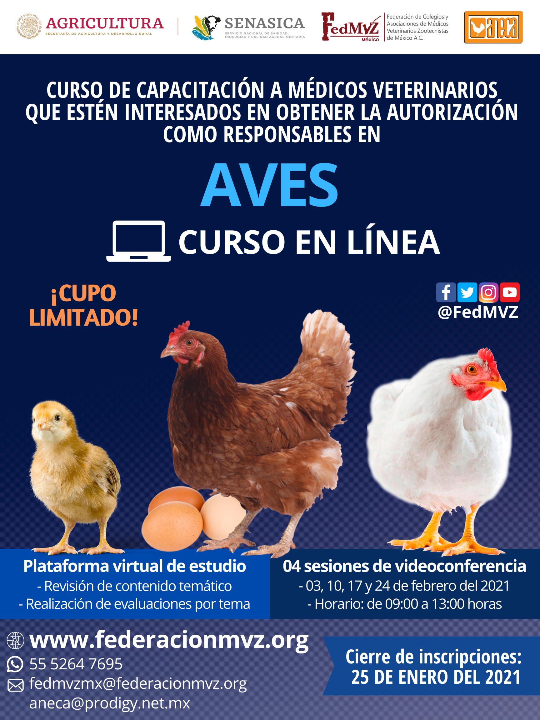 CURSO MVRA AVES EN LÍNEA FEBRERO 2021