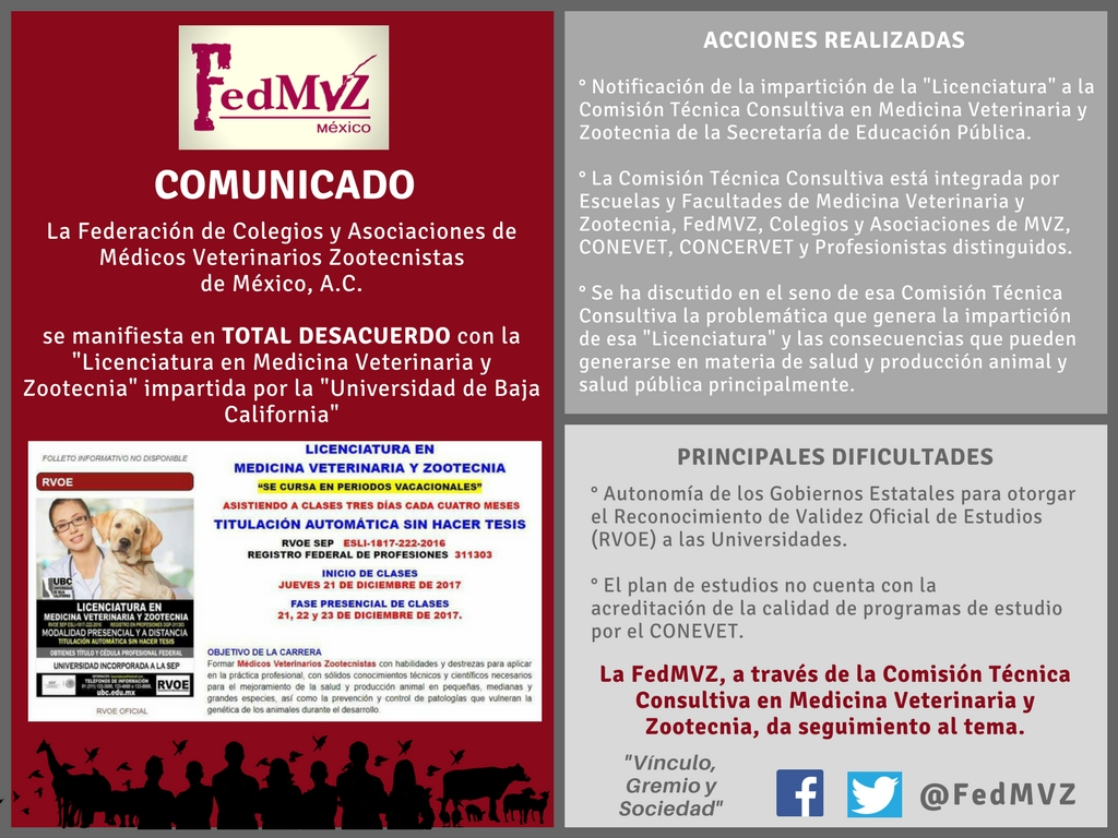 Comunicado Licenciatura MVZ - Universidad de Baja California