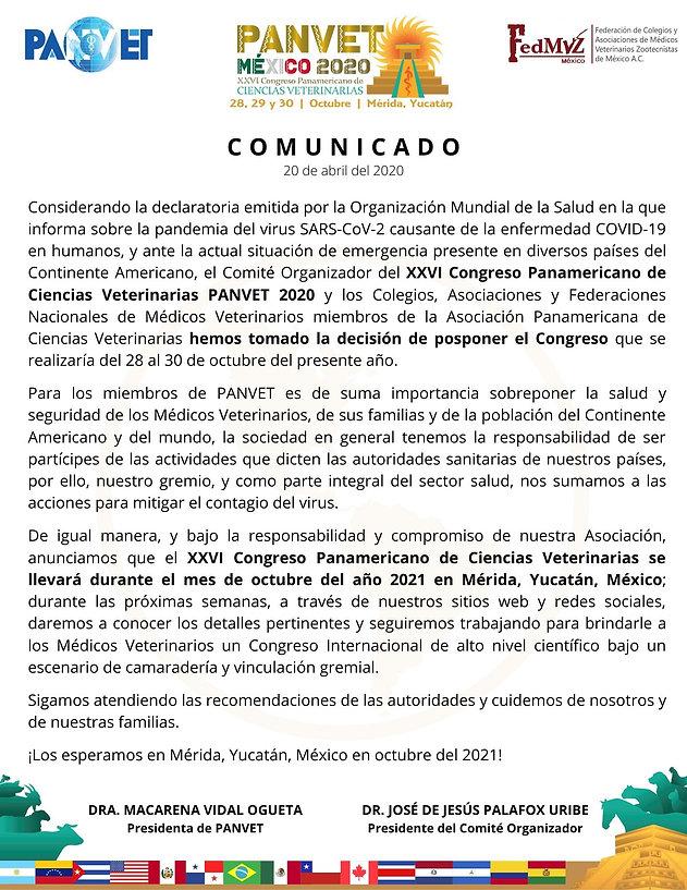 COMUNICADO CAMBIO DE FECHA PANVET 2020.j