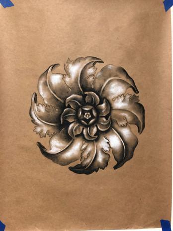 Medallion Charcol drawing
