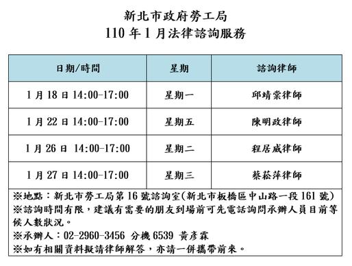 【勝綸公告】本所專業律師團隊1月份新北市勞工局諮詢時段為1/18(一)、1/22(五)、1/26(二)、1/27(三),本所義務律師服務時段如下表,請有需要的朋友多加利用。