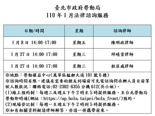 【勝綸公告】本所專業律師團隊1月份台北市勞動局諮詢時段為1/8(五)、1/27(三),本所義務律師服務時段如下表,請有需要的朋友多加利用。
