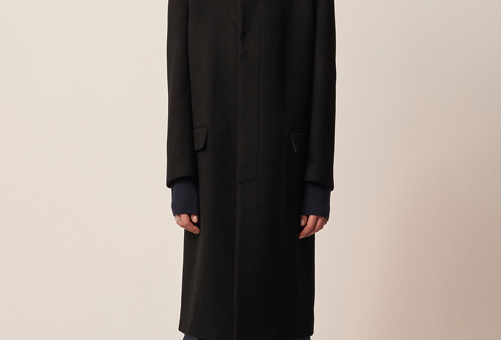 Alligator Wool Coat Black