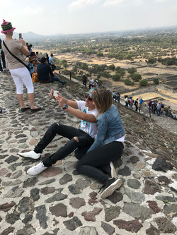 selfie on the pyramid of the sun
