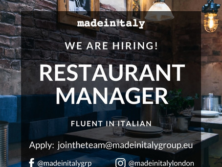 2 RESTAURANT MANAGERS (fluent Italian required)