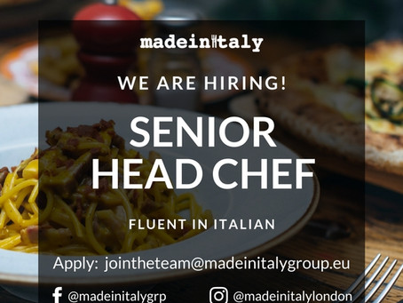SENIOR HEAD CHEF (fluent Italian required)