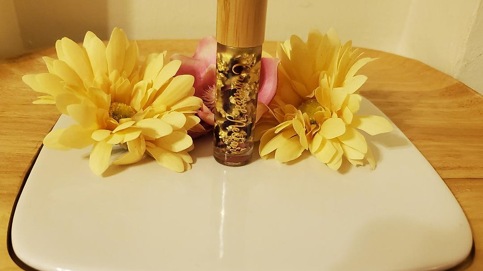 Bamboo rollerball rose bud gold flake lip oil
