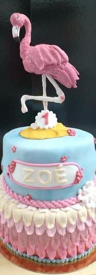 gâteau personnalisé flamand rose