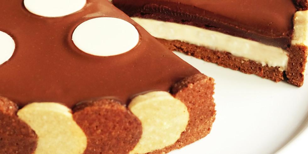 Atelier Tarte bicolore noisette, praliné et chocolat